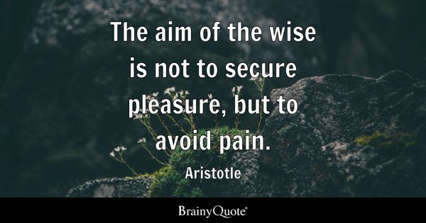 The aim of the wise is not to secure pleasure, but to avoid pain. - Aristotle