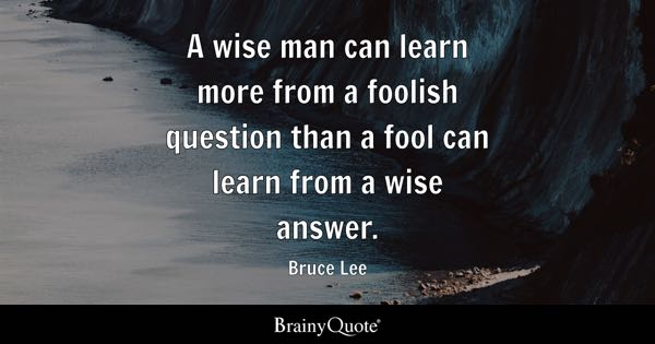 A wise man can learn more from a foolish question than a fool can learn from a wise answer. - Bruce Lee