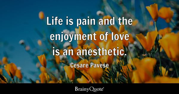 Life is pain and the enjoyment of love is an anesthetic. - Cesare Pavese