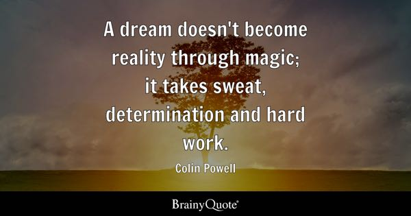 A dream doesn't become reality through magic; it takes sweat, determination and hard work. - Colin Powell