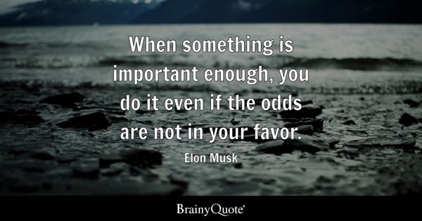 When something is important enough, you do it even if the odds are not in your favor. - Elon Musk