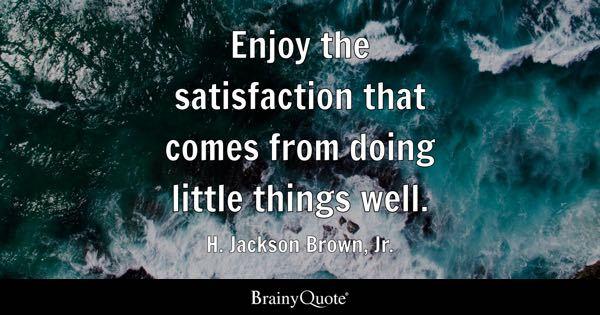 Enjoy the satisfaction that comes from doing little things well. - H. Jackson Brown, Jr.