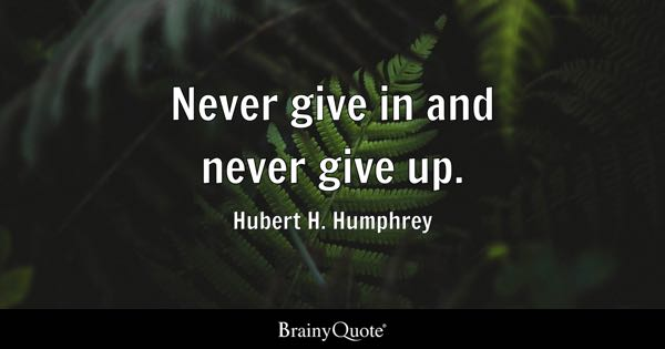 Never give in and never give up. - Hubert H. Humphrey