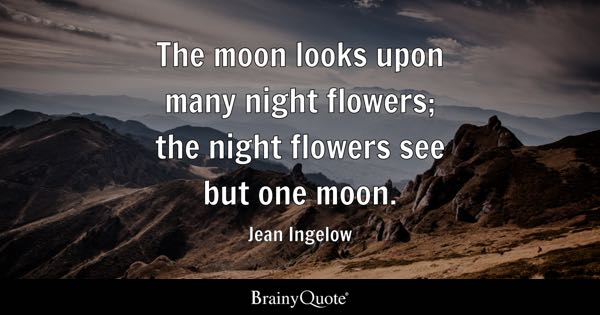 The moon looks upon many night flowers; the night flowers see but one moon. - Jean Ingelow