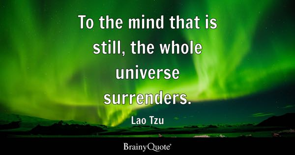 To the mind that is still, the whole universe surrenders. - Lao Tzu