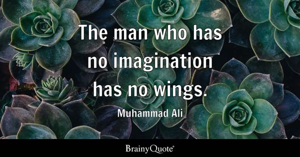 The man who has no imagination has no wings. - Muhammad Ali