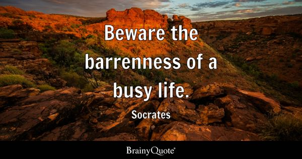 Beware the barrenness of a busy life. - Socrates