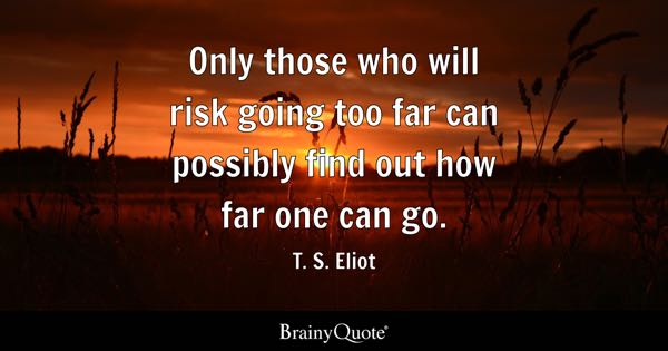 Only those who will risk going too far can possibly find out how far one can go. - T. S. Eliot