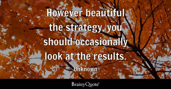 However beautiful the strategy, you should occasionally look at the results. - Unknown