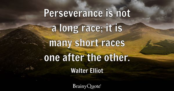Perseverance is not a long race; it is many short races one after the other. - Walter Elliot