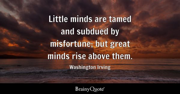 Little minds are tamed and subdued by misfortune; but great minds rise above them. - Washington Irving
